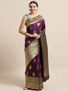 Wine Elegant Meena Work Katan Silk Saree