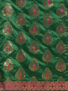 Green Elegant Meena Work Katan Silk Saree
