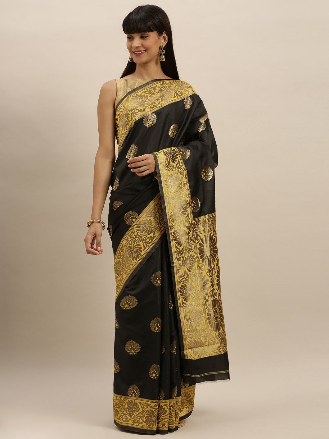 Black And Yellow Pure Katan Woven Banarasi Silk Saree