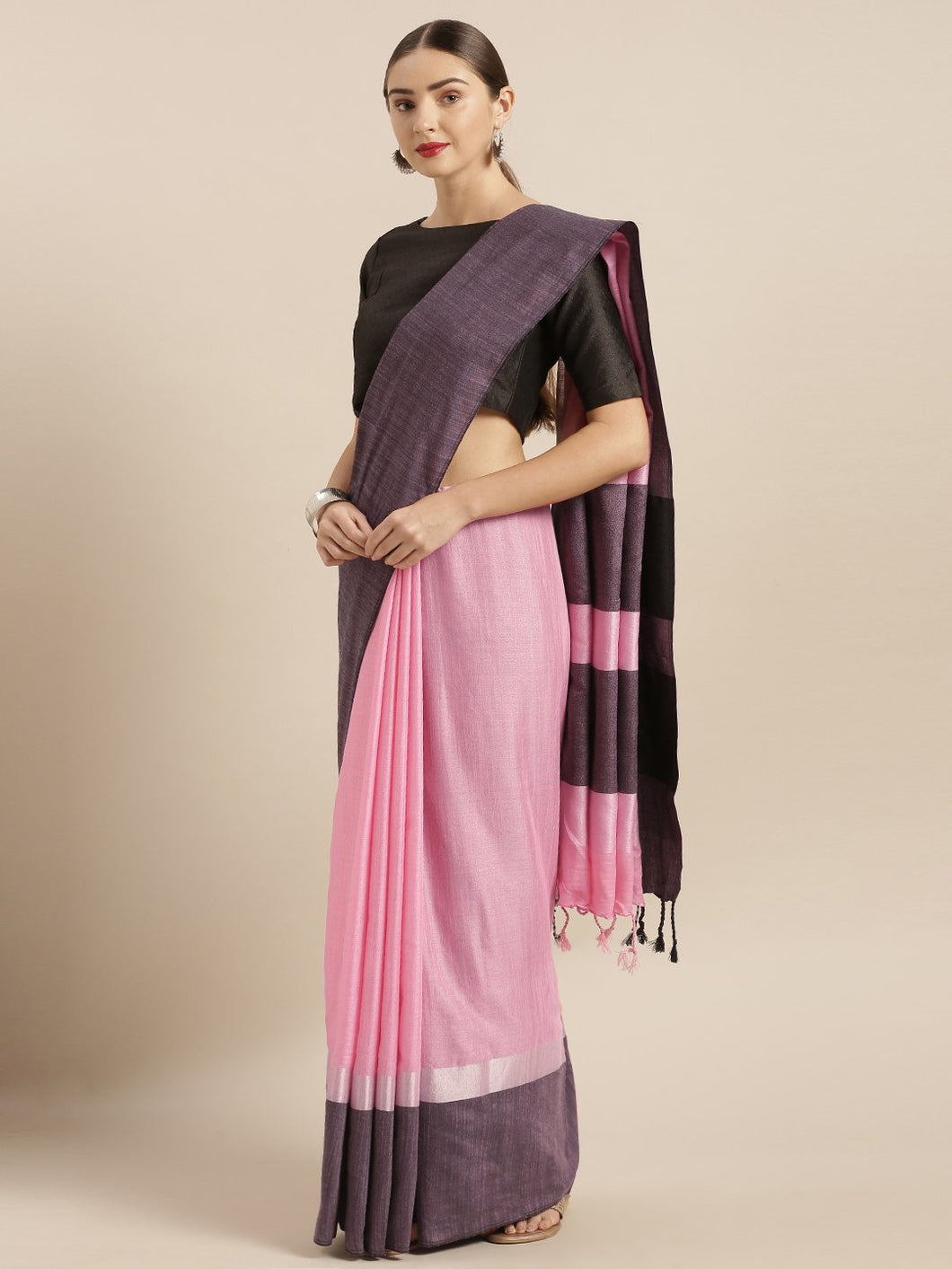 Pink Stylish Linen Dual Tone Saree