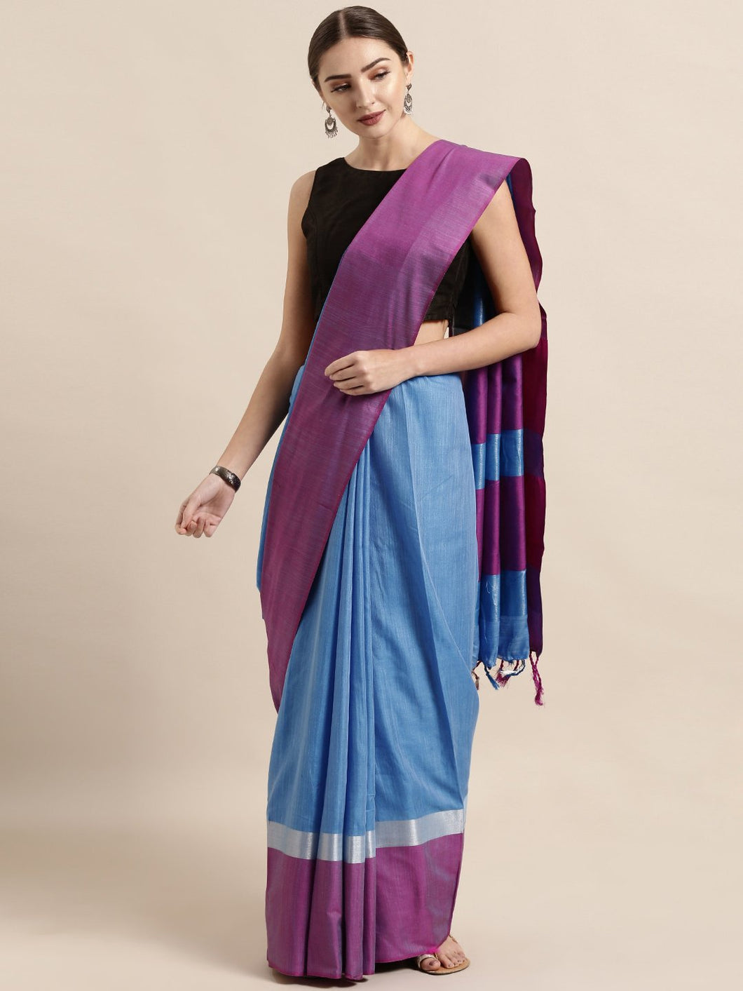 Blue And Pink Stylish Linen Dual Tone Saree