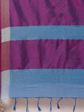 Load image into Gallery viewer, Blue And Pink Stylish Linen Dual Tone Saree