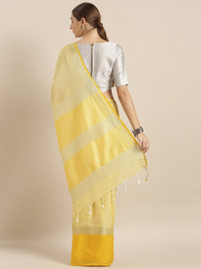Yellow Stylish Linen Dual Tone Saree