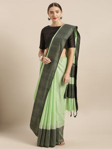 Bright Green Stylish Linen Dual Tone Saree