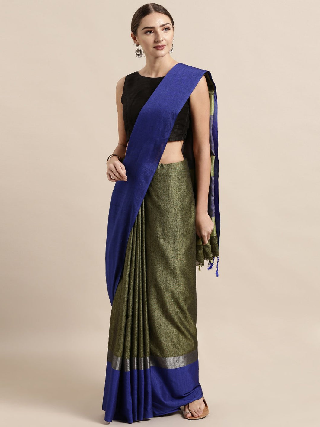 Dark Green Stylish Linen Dual Tone Saree