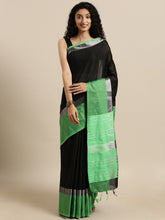 Load image into Gallery viewer, Black And Green Stylish Linen Dual Tone Saree