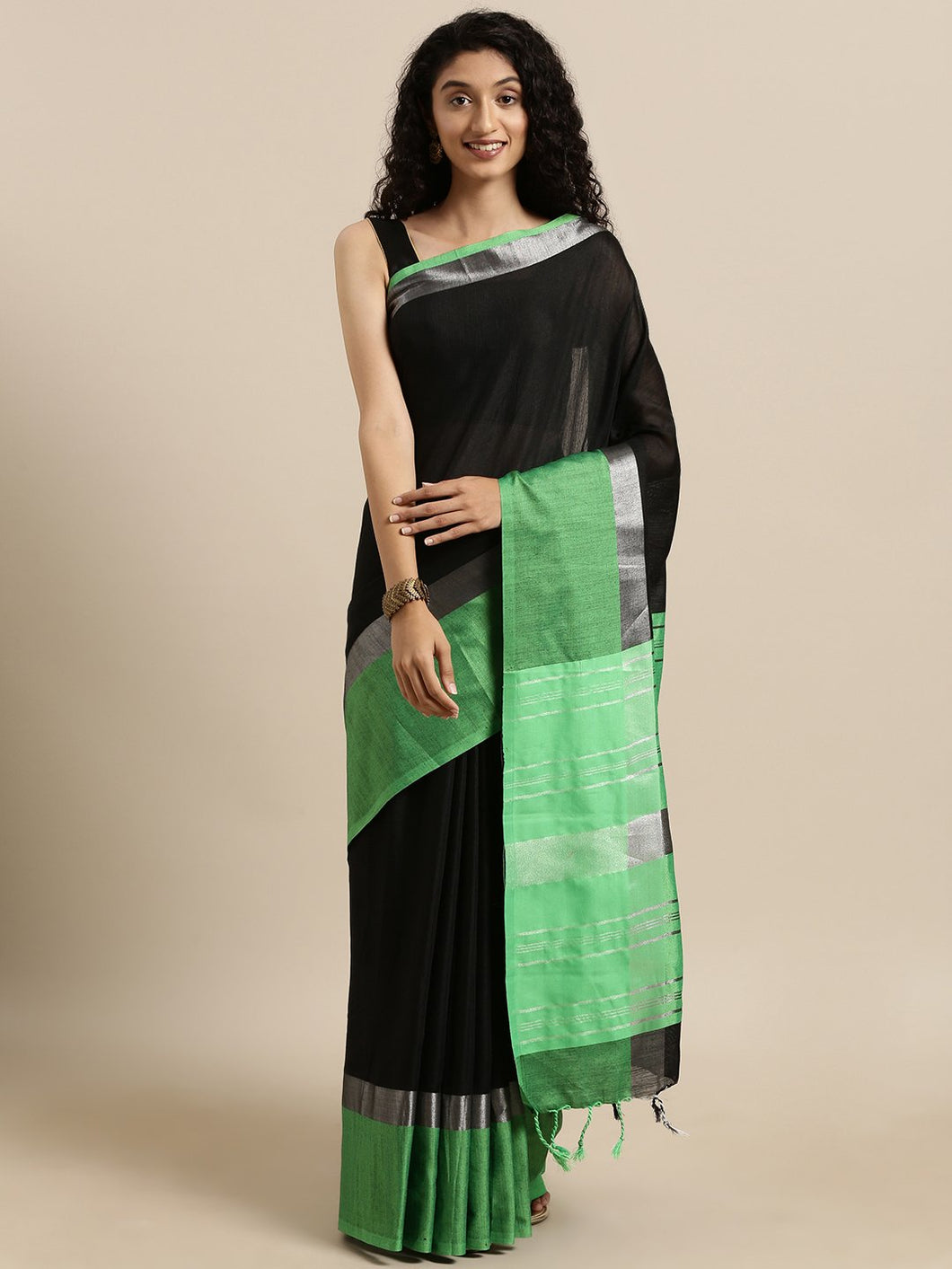 Black And Green Stylish Linen Dual Tone Saree