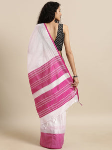 White And Pink Stylish Linen Dual Tone Saree