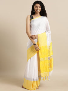 White And Yellow Stylish Linen Dual Tone Saree