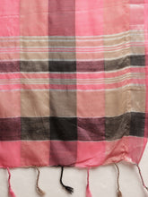 Load image into Gallery viewer, Pink Attractive Linen Ikat Checkered Saree