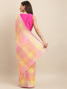 Peach Attractive Linen Ikat Checkered Saree