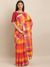 Load image into Gallery viewer, Orange Attractive Linen Ikat Checkered Saree