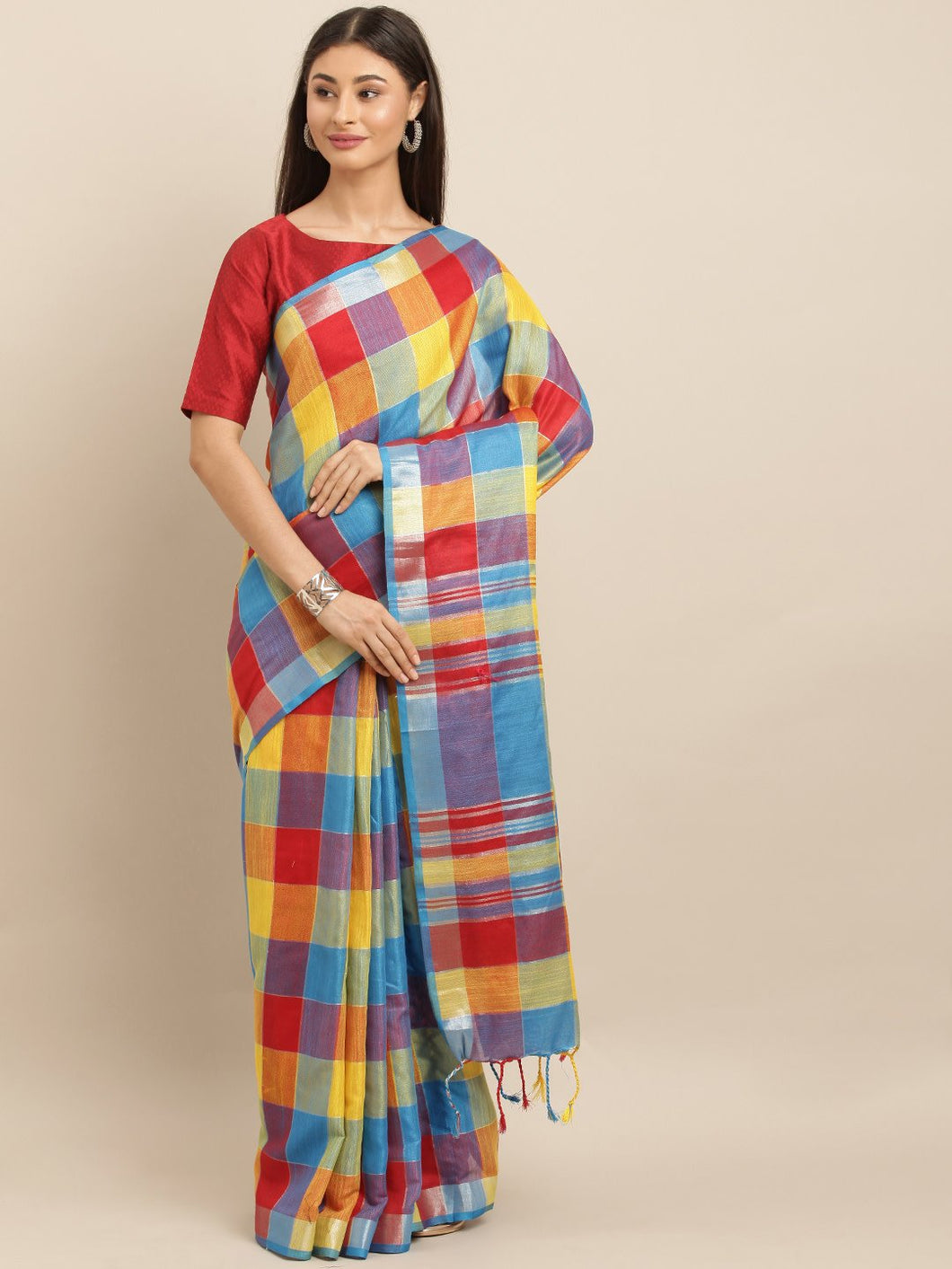 Blue And Yellow Attractive Linen Ikat Checkered Saree