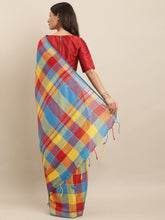 Load image into Gallery viewer, Blue And Yellow Attractive Linen Ikat Checkered Saree