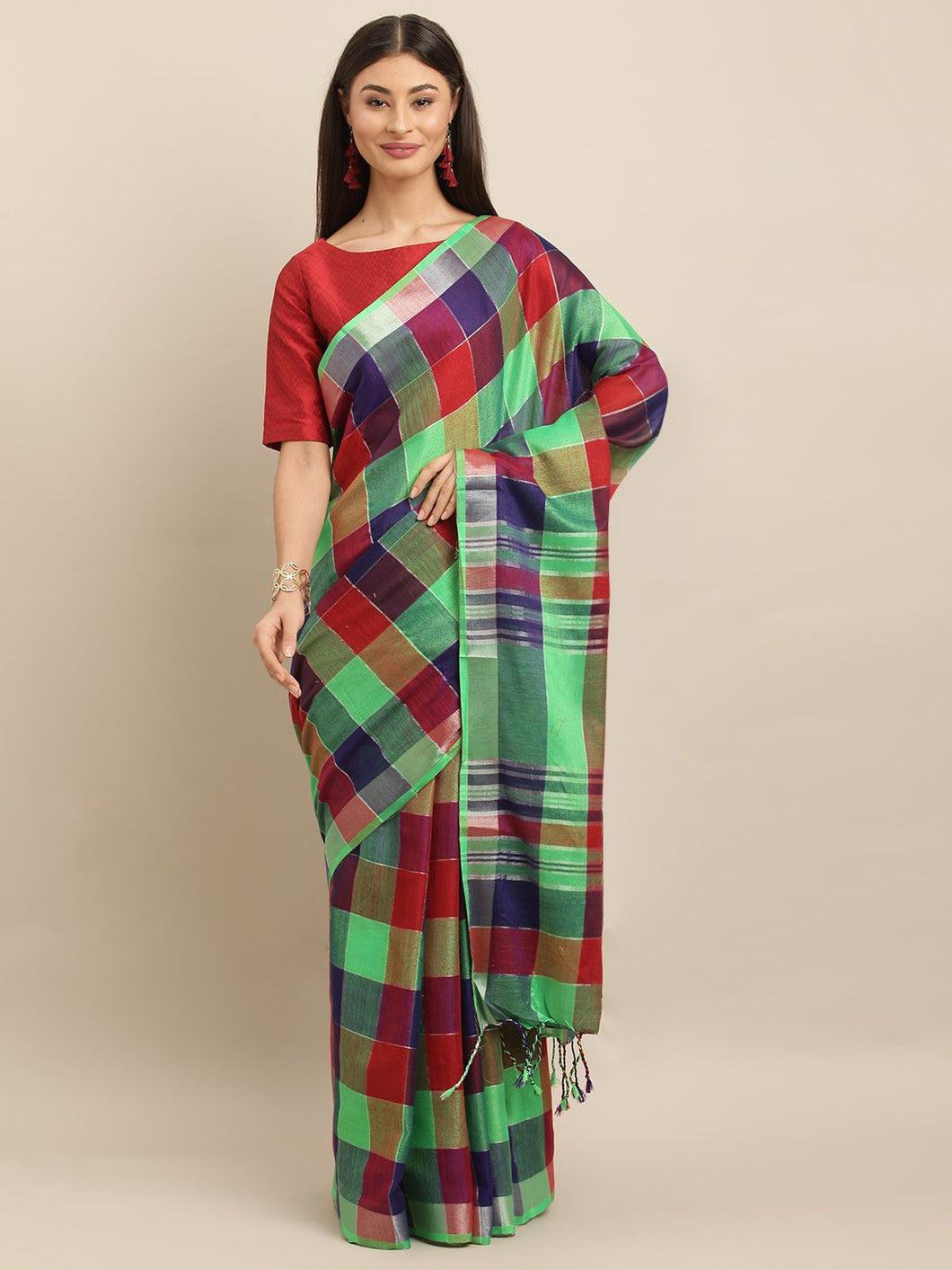 Green And Red Attractive Linen Ikat Checkered Saree