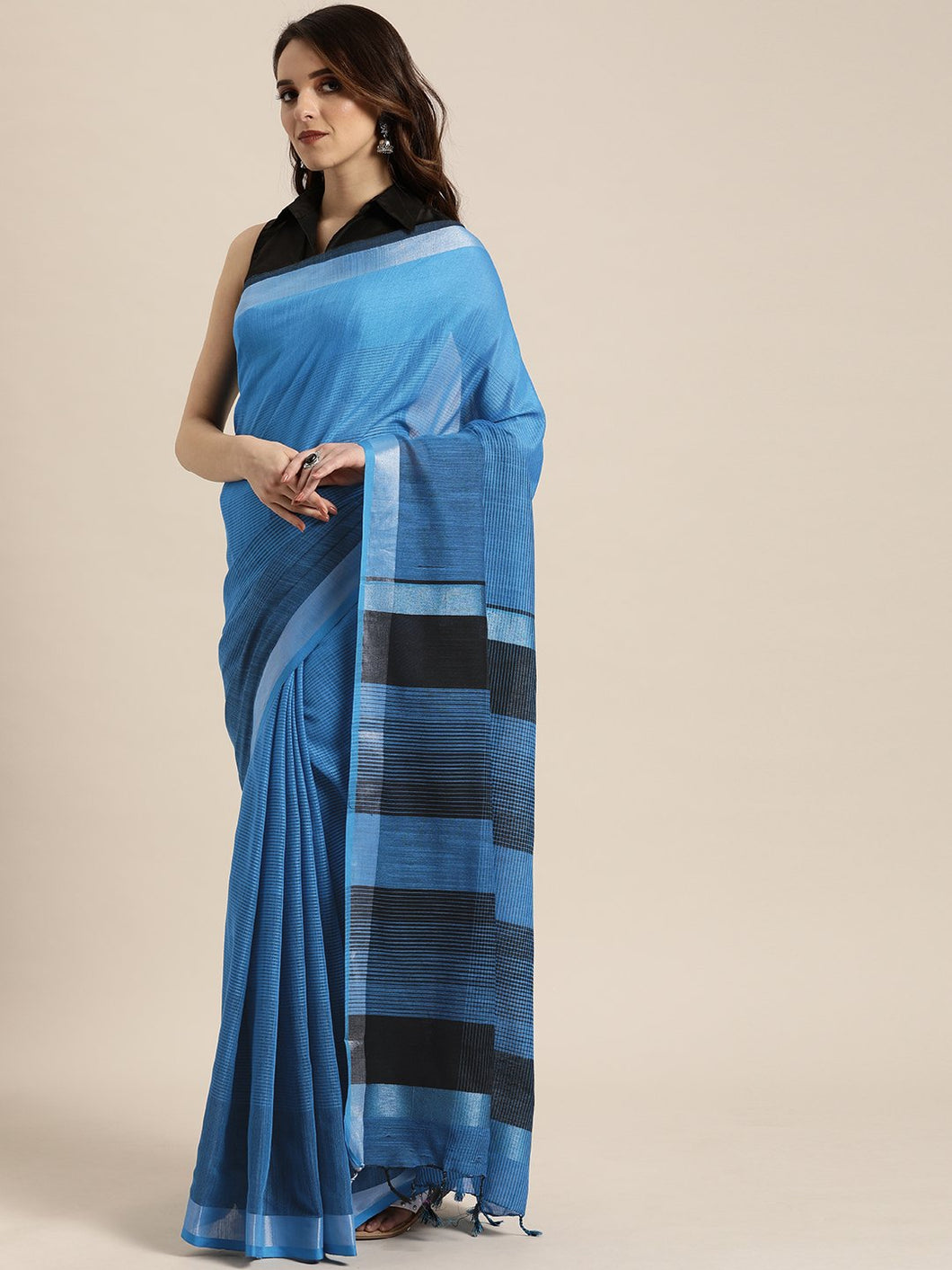 Blue Stylish Shaded Linen Saree