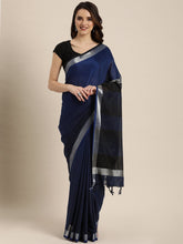 Load image into Gallery viewer, Navy Blue Stylish Shaded Linen Saree