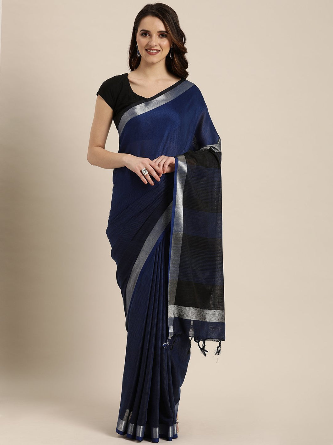 Navy Blue Stylish Shaded Linen Saree