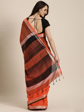 Load image into Gallery viewer, Orange Stylish Shaded Linen Saree
