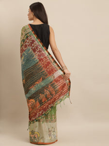 Light Green Colour Pen Kalamkari Digital Print Linen Saree