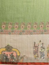 Load image into Gallery viewer, Light Green Colour Pen Kalamkari Digital Print Linen Saree