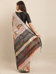 Light Pink Colour Pen Kalamkari Digital Print Linen Saree