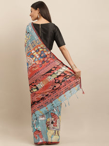 Blue Colour Pen Kalamkari Digital Print Linen Saree