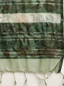 Grey and Green Colour Pen Kalamkari Digital Print Linen Saree