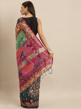 Load image into Gallery viewer, Teal Colour Pen Kalamkari Digital Print Linen Saree