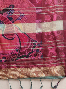 Teal Colour Pen Kalamkari Digital Print Linen Saree