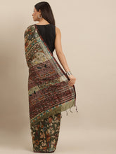 Load image into Gallery viewer, Olive Green Colour Pen Kalamkari Digital Print Linen Saree