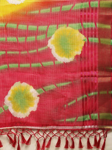 Yellow Kota Silk Bandhani Saree