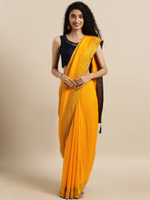 Load image into Gallery viewer, Yellow Dual Tone Swarovski Work Vichitra Silk Saree
