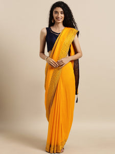 Yellow Dual Tone Swarovski Work Vichitra Silk Saree