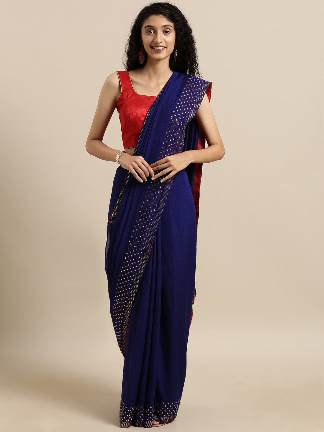 Navy Blue Dual Tone Swarovski Work Vichitra Silk Saree