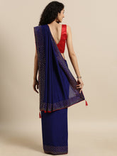 Load image into Gallery viewer, Navy Blue Dual Tone Swarovski Work Vichitra Silk Saree