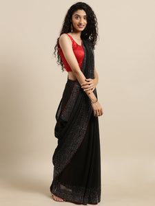 Black Swarovski Vichitra Silk Saree
