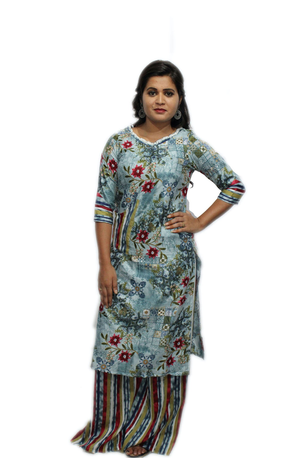 Blue Boat Neck Rayon Kurta And Palazzo Set