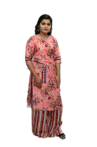 Pink Boat Neck Rayon Kurta And Palazzo Set