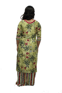 Green Boat Neck Rayon Kurta And Palazzo Set