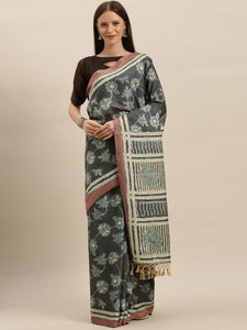Steel Grey Beautiful Bagru Block Print Linen Chanderi Handloom Saree