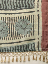 Load image into Gallery viewer, Steel Grey Beautiful Bagru Block Print Linen Chanderi Handloom Saree