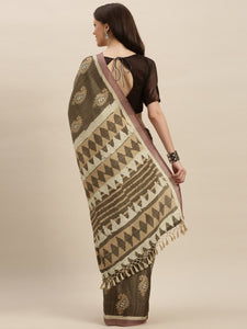 Khaki Beautiful Bagru Block Print Linen Chanderi Handloom Saree