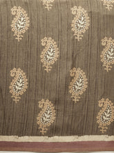 Load image into Gallery viewer, Khaki Beautiful Bagru Block Print Linen Chanderi Handloom Saree