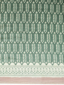 Green Beautiful Bagru Block Print Linen Chanderi Handloom Saree