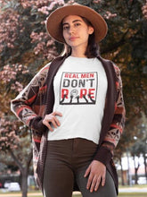 Load image into Gallery viewer, Real Men Don't Rape - Women's Tee - White