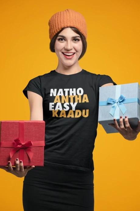 Natho Antha Easy Kadu - Women's Tee - Black
