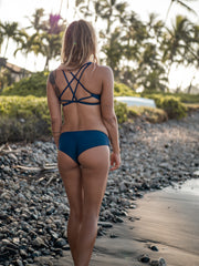 Issy Eco Friendly Strap Back Surf Bikini Top - Deep