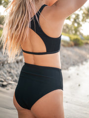 Nika Eco Friendly High Waisted Bikini Bottom - Black Ribbed