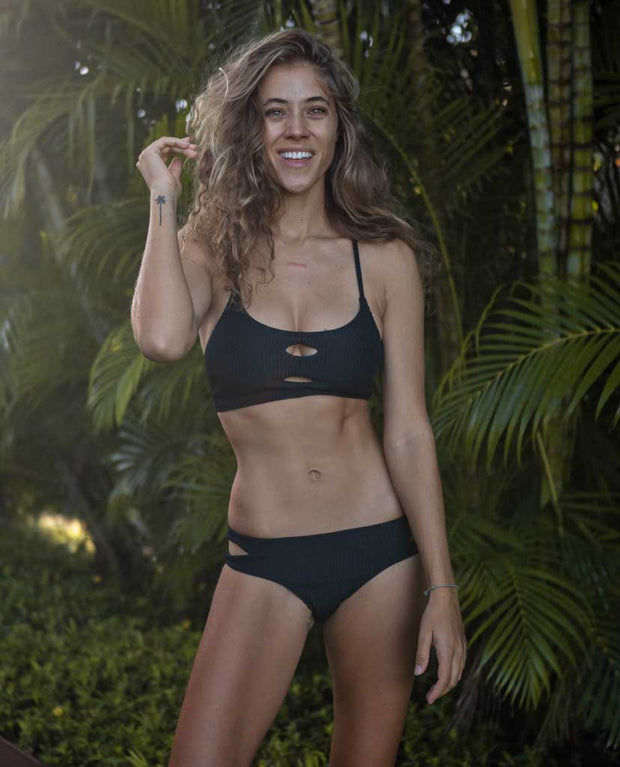 Claire Eco Friendly Adjustable Surf Bikini Top - Black Ribbed *Pre-Order*